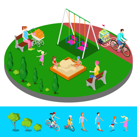 bike cover: Isometric Children Playground in the Park with People, Sweengs and Sandbox. Vector illustration