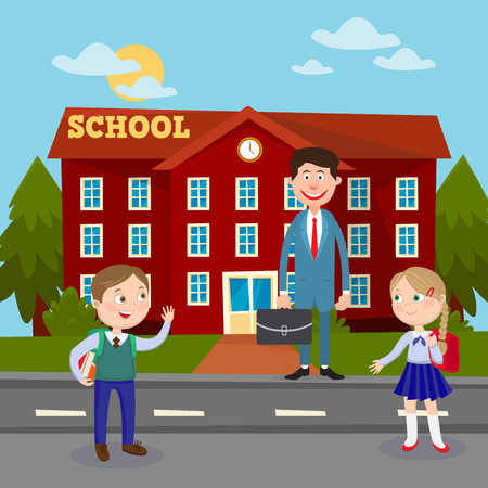 pupil's: Back to School Education Concept with School Building Teacher and Pupils. Vector illustration Illustration