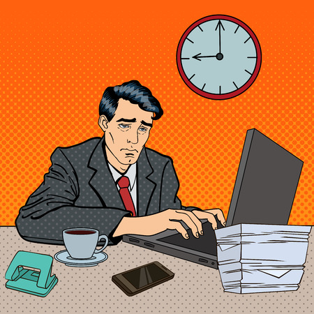 tired worker: Depressed Businessman Stayed Late at Work. Tired Worker with Laptop. Pop Art Vector illustration
