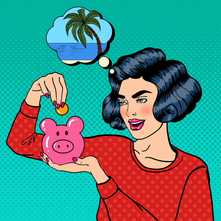coin box: Young Woman Putting a Coin Into a Piggy Money Box. Pop Art. Vector illustration
