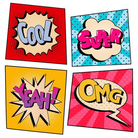 Vintage popart komische tekstballon set met expressies. Vector illustratie