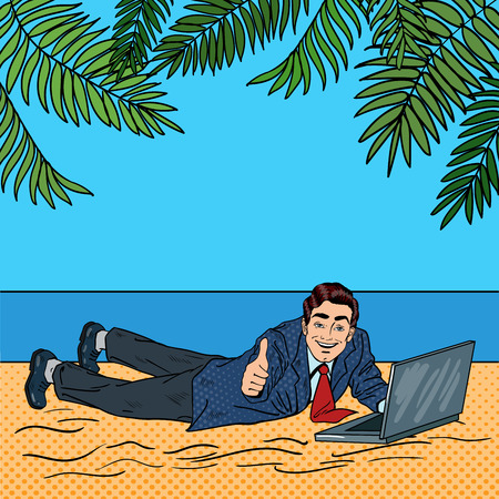 vacation with laptop: Businessman Relaxing on the Beach. Man on Tropical Vacation with Laptop. Pop Art Vector illustration