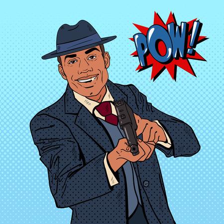 mobster: Pop Art Mafia Boss with Gun and Golden Tooth. Vector illustration