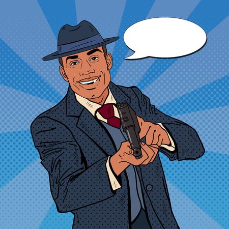 murderer: Pop Art Mafia Boss with Gun and Golden Tooth. Vector illustration