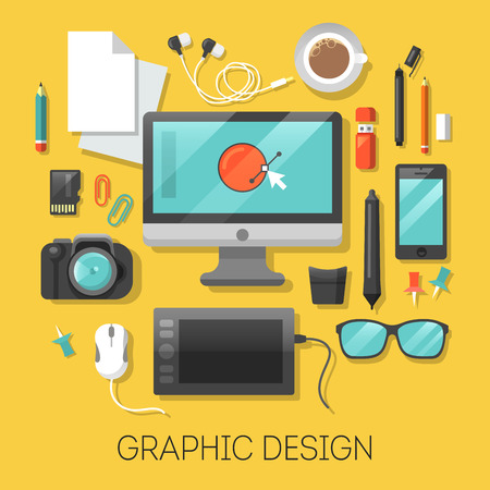 Graphic Design Workplace with Computer and Digital Tools. Vector illustration