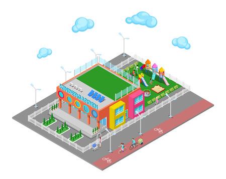 Isometric Kindergarten with Playground and Children. Vector illustration