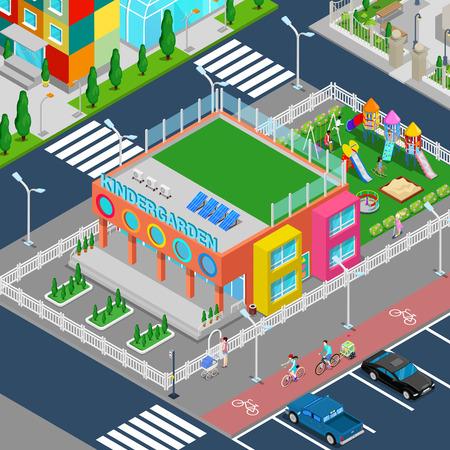Isometric Kindergarten with Playground and Children. Vector illustration Illustration
