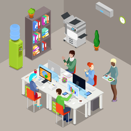 open space: Isometric Office Open Space with Workers and Computers. Vector illustration Illustration