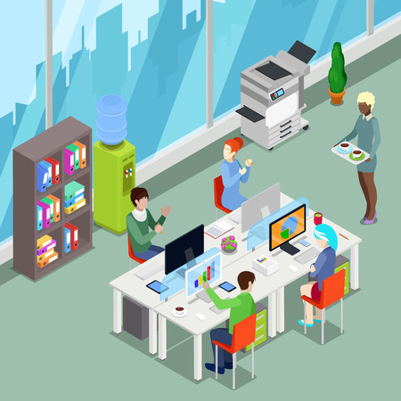 xerox: Isometric Office Open Space with Workers and Computers. Vector illustration Illustration