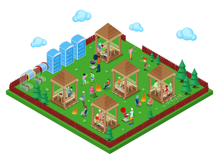 Family Grill BBQ Area in the Forest with Active People Cooking Meat and Playing Sports. Isometric City. Vector illustration Illustration