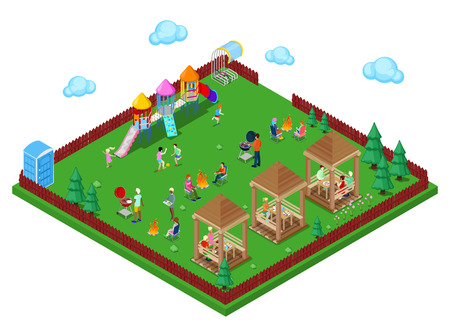Family Grill BBQ Area in the Forest with Children Playground and Active People Cooking Meat. Isometric City. Vector illustration