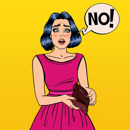 empty wallet: Unhappy Woman Showing Empty Wallet. Financial Failure. Pop Art Vector illustration Illustration