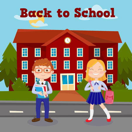 pupil's: Back to School Education Concept with School Building and Pupils. Vector illustration Illustration
