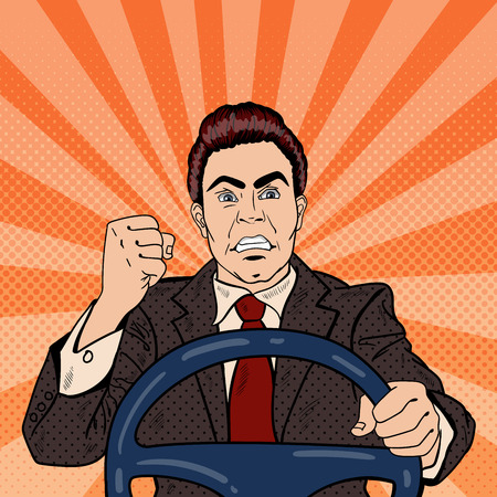 Angry Driver mens die zijn vuist Road Rage. Pop Art Vector illustratie