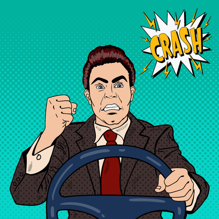 그의 주먹 도로 분노를 보여주는 화가 드라이버 남자. 팝 아트 벡터 일러스트 레이션
