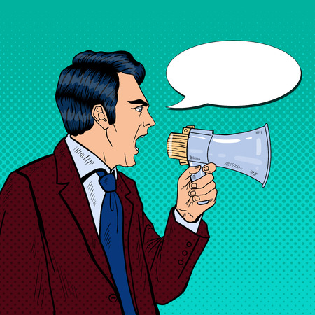 shouting: Angry Businessman Shouting in Megaphone. Pop Art Vector illustration