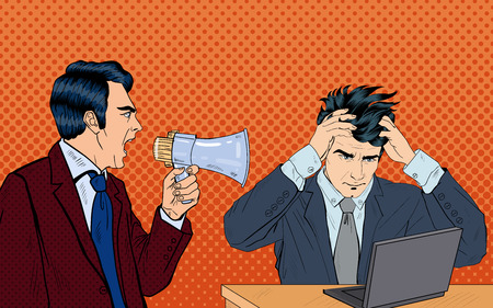 Angry Boss Screaming in Megaphone on his Worker. Pop Art. Vector illustration