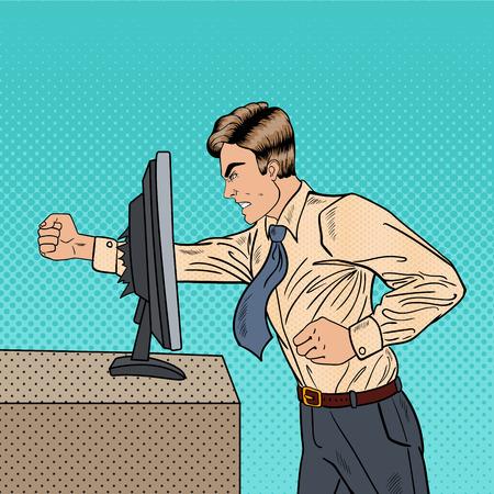 Angry affaires bloque l'ordinateur dans le bureau avec son poing. Pop Art Vector illustration