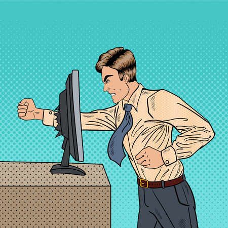 Angry Businessman Crashes Computer in Office with His Fist. Pop Art Vector illustration