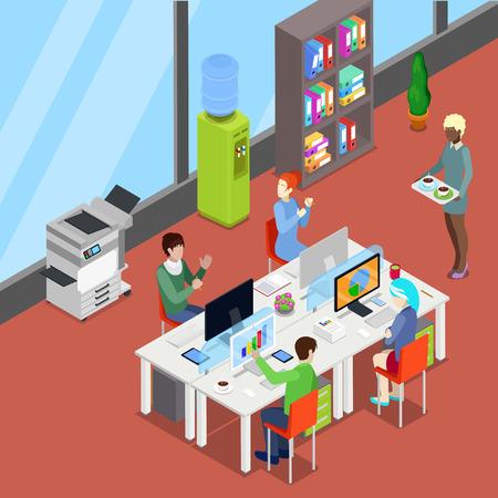 Ufficio isometrico Open Space con lavoratori e computer. Illustrazione vettoriale Vettoriali
