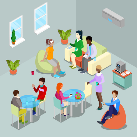 Isometric Interior Office Canteen and Relax Area with People. Vector illustration Vector Illustration