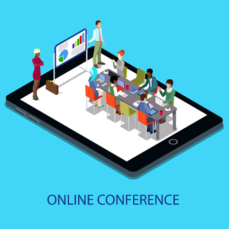 Isometric Online Conference Business Presentation with People on the Tablet. Vector illustration
