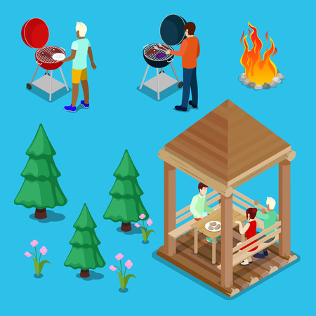 Isometric Family Grill BBQ People Cooking Meat. Vector illustration Illustration