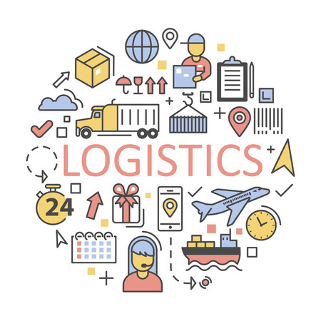 mapa de procesos: Envío y Logística Iconos Conjunto de prestación de servicios. ilustración vectorial