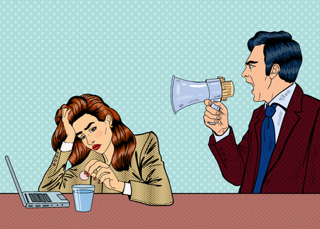 girl laptop: Angry Boss Screaming in Megaphone on the Woman in Office. Pop Art Vector illustration
