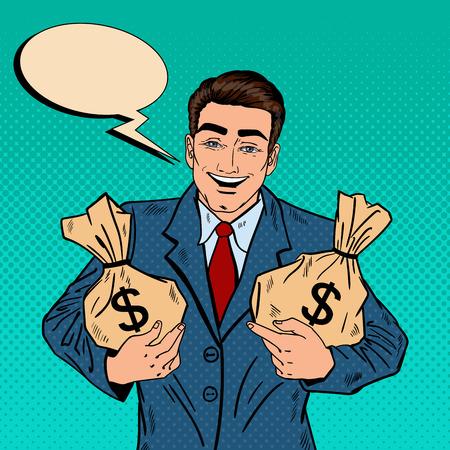 Smiling Businessman Holding Money Bags. Pop Art Vector illustration 向量圖像
