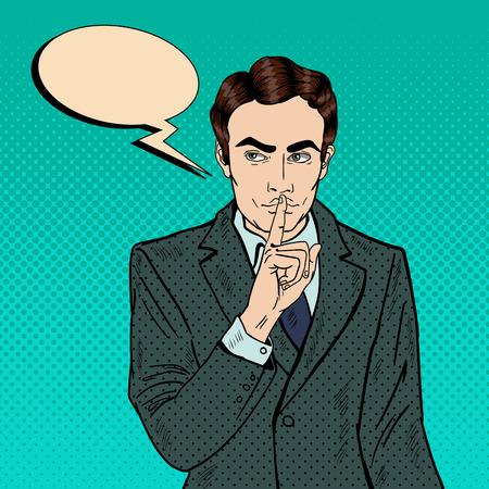 Businessman Silent Quite Gesture with Finger. Mystery Secret. Pop Art Vector illustration