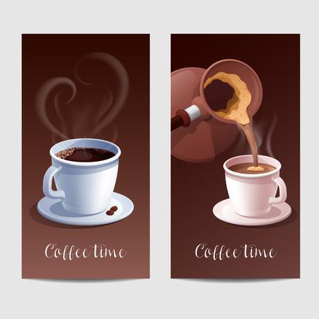 Coffee Time Banner mit Kaffeetasse und Herz-geformte Steaming. Vektor-Illustration Vektorgrafik