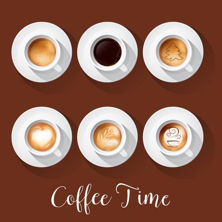 Realistic Coffee Cups with Americano Latte Espresso Macchiatto Mocha Cappuccino. Vector illustration
