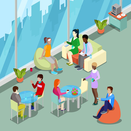 business space: Isometric Interior Office Canteen and Relax Area with People. Vector illustration