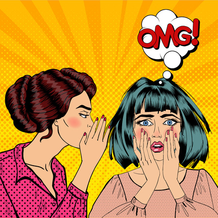 Young Woman Whispering Secret to her Friend. Pop Art Vector illustration Illustration