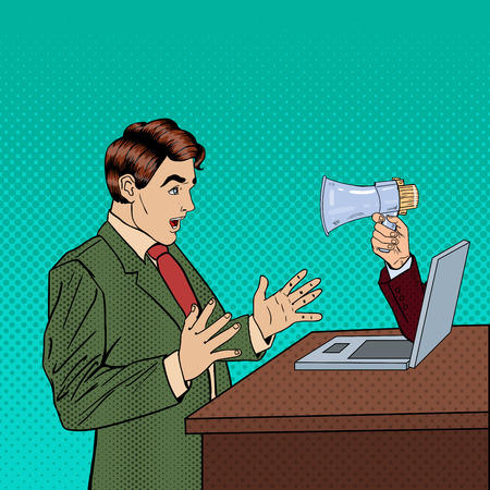 computer art: Web Advertising, Marketing and Spam - Hand with Megaphone Promoting Through Laptop on Business Man. Pop Art Vector illustration