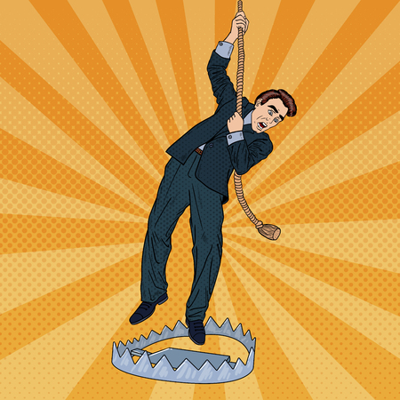 mantrap: Stressed Business Man on the Rope Falls into the Trap. Pop Art Vector illustration