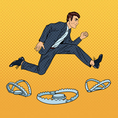 businessman jumping: Successful Businessman Jumping Over the Trap. Pop Art Vector illustration