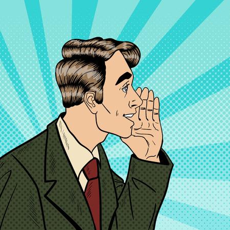 whispering: Pop Art Business Man Whispering Secrets. Privacy and Secret Concept. Vector illustration Illustration