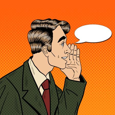 Pop Art Business Man Whispering Secrets. Privacy and Secret Concept. Vector illustration Ilustracja