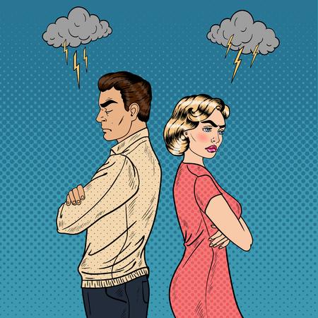 Familie Quarrel - Unglückliche Junge Paare Standing Arme verschränkt Rücken an Rücken. Pop-Art-Vektor-Illustration