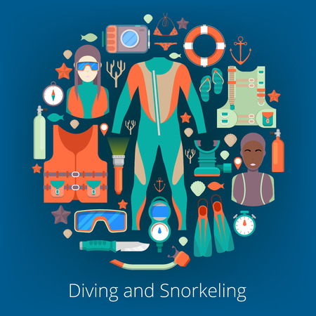 snorkeling: Diving and Snorkeling Icons Set with Scuba Equipment. Vector illustration