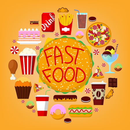 unhealthy food: Fastfood Icons Set with Burger, Soda and Pizza. Unhealthy Food Concept. Vector illustration Illustration