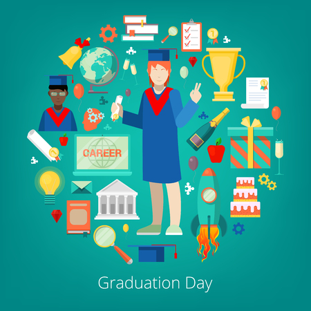 Graduation Day Party Icons Set with Happy Student, Certificate and Diploma. Vector illustration Illustration