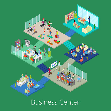 gym room: Isometric Business Office Center Building Interior with Conference Room and Gym. Vector illustration