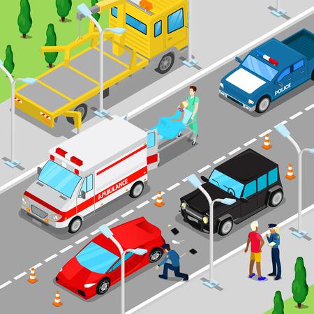 救急車、レッカー車、警察車両等尺性都市交通事故。ベクトル図  イラスト・ベクター素材