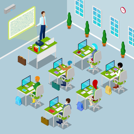 Isometric Computer Classroom with Teacher and Students on Lection. Vector illustration