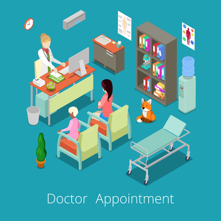 medical cabinet: Isometric Medical Cabinet Interior Doctor Appointment with Patient. Vector illustration