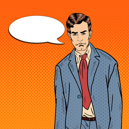 delusion: Pop Art Sad Depressed Businessman with Comic Speech Bubble. Vector illustration