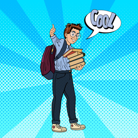 Back to School - Happy Schoolboy with Backpack and Books Gesturing Great. Pop Art Vector illustration Illustration